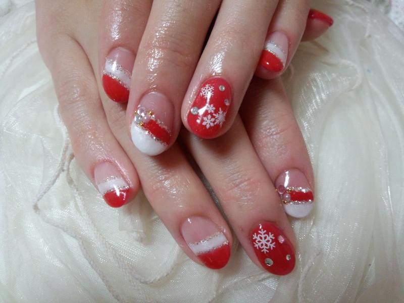 【赤白Wフレンチ】もうすぐクリスマスジェルネイル♪