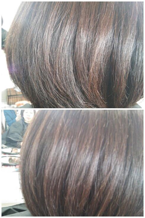 ボブヘアークセ毛のはねをヘアリセッターで